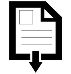 Document downloading icon vector