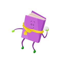Funny humanized purple book character playing vector