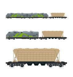 green locomotive with hopper car on platform vector image