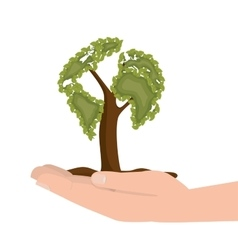 hand hold tree ecology icon design vector image