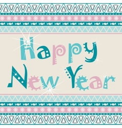 Happy new year card with african ornament design vector
