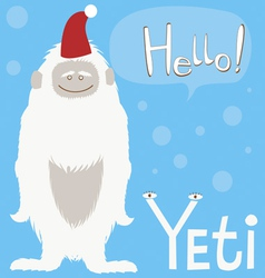 Holiday card with cute yeti character vector