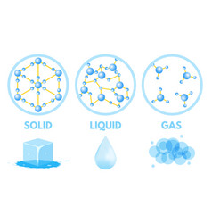 Matter in different states gas solid liquid vector