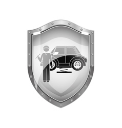 Metallic shield of mechanic with spanner and car vector
