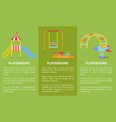 playground posters with childrens slide sandbox vector image