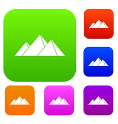 Pyramids in giza set color collection vector