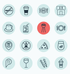 Set of 16 food icons includes lemon juice grill vector