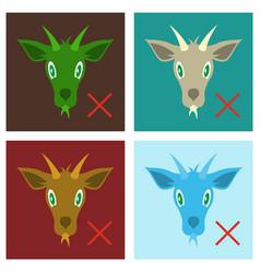set of flat goat animal farm icon vector image vector image