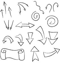 set of linear black arrows vector image vector image
