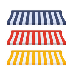 Set of striped awnings for shop vector