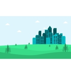 Silhouette of town in the hills vector