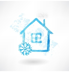 snow house grunge icon vector image