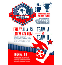 Soccer sport competition banner of football match vector