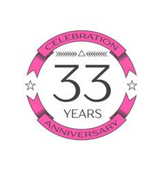Thirty three years anniversary celebration logo vector