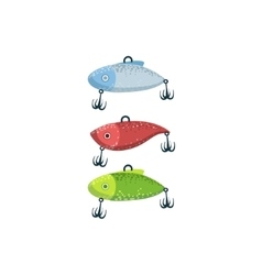 Three fishing spoon-baits in shape of fish vector
