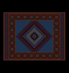 vintage ethnic dark burgundy carpet with blue vector image vector image