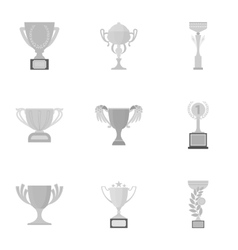Winner cup set icons in monochrome style big vector