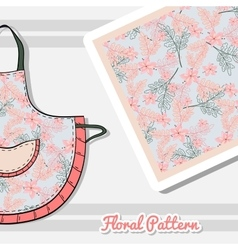 Apron with pink flowers vector