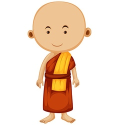 Buddhist monk with happy face vector