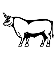 monochrome silhouette with fighting bull vector image