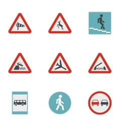 Sign on road icons set flat style vector