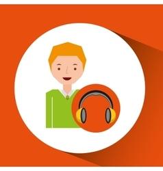 headphones music cartoon guy young vector image
