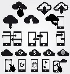 Cloud app icon set vector
