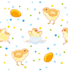 Easter seamless pattern with cute chickens and vector