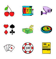 Poker icons set cartoon style vector