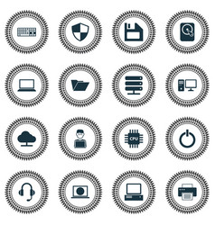 Notebook icons set collection of defense power vector