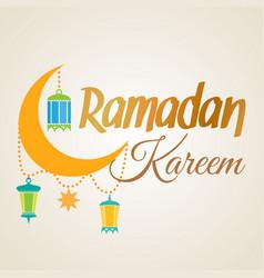 Ramadan kareem crescent moon and lantern lamps vector