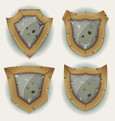 Stone and wood shield security icons vector