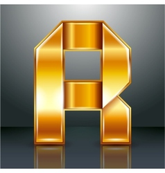 Letter metal gold ribbon - R vector image