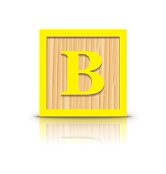 Letter b wooden alphabet block vector