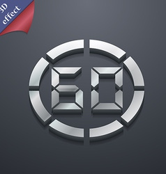 60 second stopwatch icon symbol 3d style trendy vector