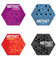 Set of four hexagon banners vector