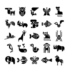 Black and white isolated animal icons vector