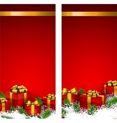 Red christmas banners with gift boxes vector
