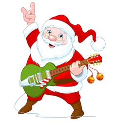 Santa claus plays guitar vector