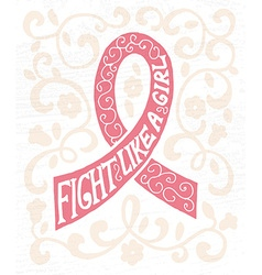 Pink ribbon with hand drawn typography poster vector