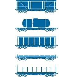 Set of railway freight cars - vector