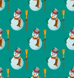 Seamless pattern with snowman vector
