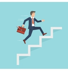 Businessman with suitcase climbing the stairs of vector