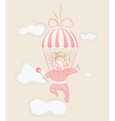 parachuting little girl with lollipop vector image