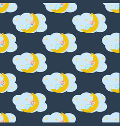 Baby sleeping on the moon seamless pattern vector
