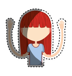 Beauty woman with hairstyle icon vector