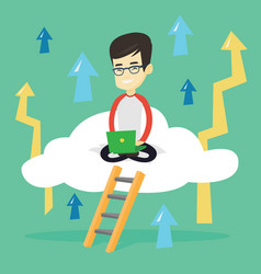 business man sitting on cloud with laptop vector image vector image