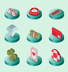 Casino flat isometric set vector