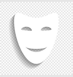 Comedy theatrical masks white icon with vector