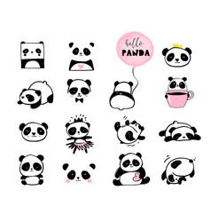 Cute panda hand drawn elements vector